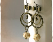 EARRINGS - Vintage style dangle earrings - Shabby chic - Romantic style- Rustic - Bows and Circles