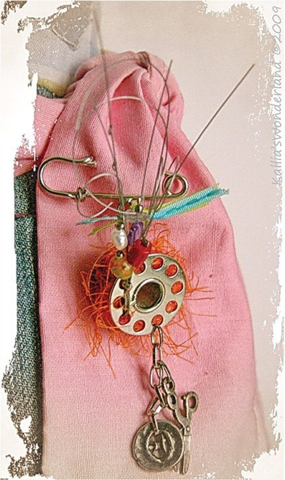 BROOCH - The Singer Spool - Safety pin with singer spool and  gemstones - Altered jewelry, Whimsical, Seamstress