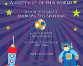 Out Of Space Birthday Party Theme Invitation DIY Printable 5x7 Card