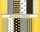 Busy Bee Digital Paper Pack for Scrapbooking, Cards, Invites, Photographers Marketing Kits, Crafts