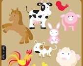 Barnyard Farm Animals - rabbit, cow, sheep, dog, pig, horse, rooster - Personal and Commercial Use Clipart Set - Instant Download