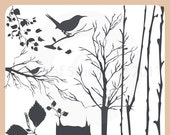 Birch Tree Silhouettes Clip Art Instant Download - fall leaves, branches, twigs, tree stump, perched bird - Personal and Commercial Use