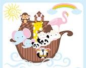 Noahs Ark - rabbit, bear, flamingo, hornbill, elephant, monkey, panda, boat, rainbow, premade logo - Personal and Commercial Use Clip Art