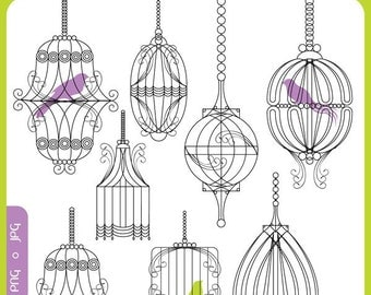 Chic Bird Cages ORIGINAL digital illustration set - shabby chic, new home, vintage, scrapbooking - Personal and Commercial Use Clip Art