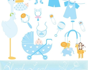 Baby Boy Doodles Digital Download - rattle, stork, pram, cot mobile, toys, bib, stork carrying baby, pacifier - Personal and Commercial Use