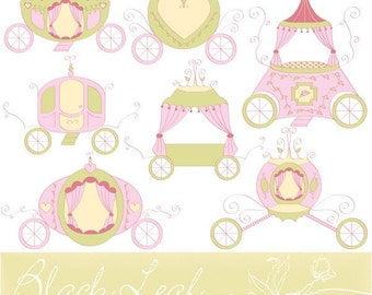 Royal Carriages - chariot, shabby chic, princess, baby girl, horse carriage, cinderella theme - Personal and Commercial Use Clip Art