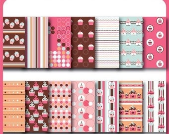 Sweet Cupcake Digital Paper for Scrapbooking, Cards, Invites, Photographers Marketing Kits, Crafts