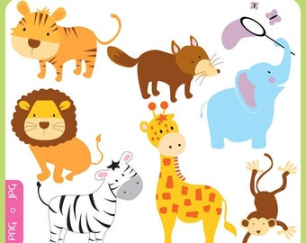 Baby Animals - cute animals, fun animals, giraffe, elephant, fox, tiger, lion, jungle, forest, wild - Personal and Commercial Use Clip Art
