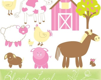 Barn Fun - farm animals, cute barn animals, sheep, rooster, chick, cow, barnyard animals- Personal and Commercial Use Clip Art