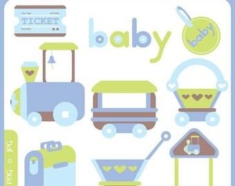 Baby Express ORIGINAL digital clip art illustration set - toy train, choo choo, baby train, goods train, cute train, railway, scrapbooking, baby travel, travel train, choo choo train - Personal and Commercial Use Clip Art