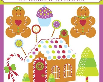 Candy House ORIGINAL digital clip art illustration set - christmas, candy house, ginger bread house, sweet house, scrapbooking, winter, cold, ice, candy decor, baby, scrapbooking, season, baking, kitchen, crafts - Personal and Commercial Use Clip Art