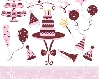 Birthday Wishes in Pink ORIGINAL digital clip art illustration set -celebration, birthday, happy birthday, party hats, party supplies, balloons, polka dots, baby, nursery decor, girly, its a girl, its a baby, scraps - Personal and Commercial Use Clip Art