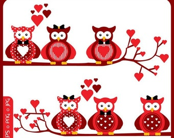 Owls In Love Clipart