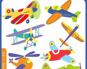 Flying High Airplanes - planes, boys, toy airplanes, aircrafts, aeroplanes - Personal and Commercial Use Clip Art Instant Download