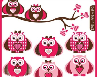 Valentine Owls digital clip art owls in love, love birds, hoot hoot love, mrs and mr owl, owl boy, owl girl Personal Commercial Use