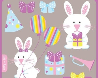 Baby Birthday Bunny - rabbit, birthday, gift, bow, girl, wrapped up, gift box, bunny rabbit - Personal and Commercial Use Clip Art