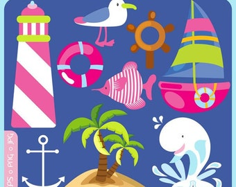 Nautical Fun - sea, whale, waves, ship, yatch, boat, helm, ocean, beach - Personal and Commercial Use Clip Art
