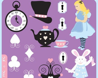 Alice in Wonderland Clip Art Instant Download - rabbit, mad hatter, hearts, tea party, tea pot, cups - Personal and Commercial Clipart