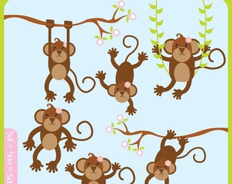 Cute Little Girl Monkey ORIGINAL digital illustration - cute animals, sock monkey, forest, monkeys - Personal and Commercial Use Clip Art