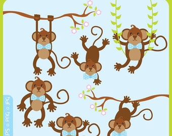 Cute Little Boy Monkey ORIGINAL digital clip art illustration set - jungle, cute animals, sock monkey, mod animals, noahs ark, forest, woodland, monkeys  - Personal and Commercial Use Clip Art