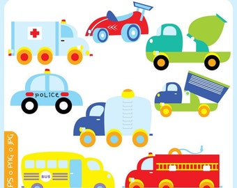 Toy Transport ORIGINAL digital - toy car, police car, ambulance, cement mixer, dumper truck, vehicle - Personal and Commercial Use Clip Art