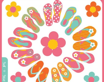 Summery Beach Flip Flops - beach wear,flip flop footwear, floral flip flops, bright flip flops - Personal and Commercial Use Clip Art