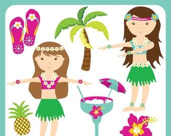 Baby Hula Luau Fun - hawaiian, dancer, palm, pineapple, tropical, hula girls, flip flops, cocktails, beach - Personal and Commercial Use