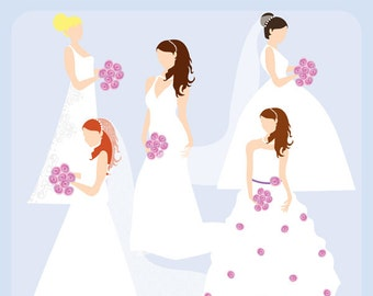Bridal Silhouettes Clip Art Instant Download - wedding, gowns, bride, bridesmaid, shower, registry - Personal and Commercial Use Clipart