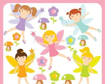 Baby Woodland Fairies Clip Art Instant Download - fairy, flower, princess, mushroom, toad stool, magic, fairy - Personal and Commercial Use