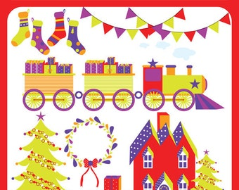 Christmas Joy - Christmas Tree, House, NorthPole Express, Stocking, Gift, Wreath, Sock, Decoration - Personal and Commercial Use Clipart