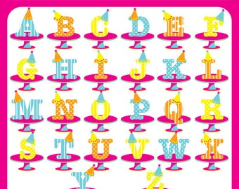 Birthday Alphabets  - birthday party hats alphabets, hats on letters, celebration alphabets, typography, lettering, birthday letters
