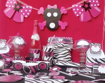 Diva Rock Star Animal Print Custom Birthday Printable Party Kit or Baby Shower Package