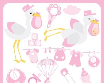 Stork Baby Girl - pink stork, stork carrying baby, pacifier, feeding bottle, birth announcement, baby shower - Personal and Commercial Use