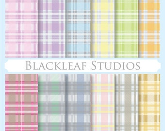 Plaid Pattern Scottish Pastel Fabric Checks - Digital Paper for Scrapbooking, Cards, Invites, Photographers, Crafts