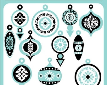 Aqua Christmas Baubles - christmas ornaments, christmas tree, tis the season, winter - Personal and Commercial Use Clip Art