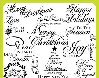 Christmas Word Art Clip Art Set -Scrapbooking Titles, Christmas Titles, Seasons Greetings - Personal & Commercial Instant Download