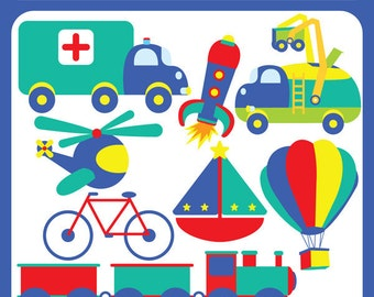 Transportation Digital File Clip art - ambulance, balloon, rocket, boat, cycle, helicopter, train, truck, logo - Personal and Commercial Use