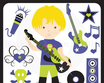 Little Rock Star Boy - musician, guitar, school band, tattoo, heart flourish, rockstar boy, punk - Personal and Commercial Use Clip Art