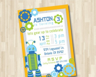 Robot Invitation DIY Printable for Birthday Party Celebration, Baby Boy Birthday Theme