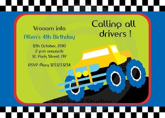 monster truck birthday party invitation diy printable x card, party invitations