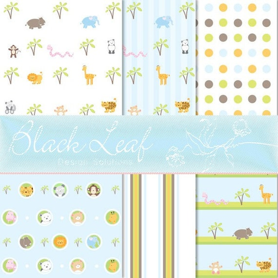 Jungle Animals Digital Paper for Scrapbooking, Cards, Invites, Photographers Marketing Kits, Crafts