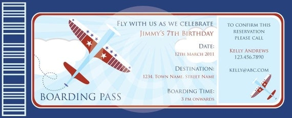 items similar to boarding pass airplanes invitation diy