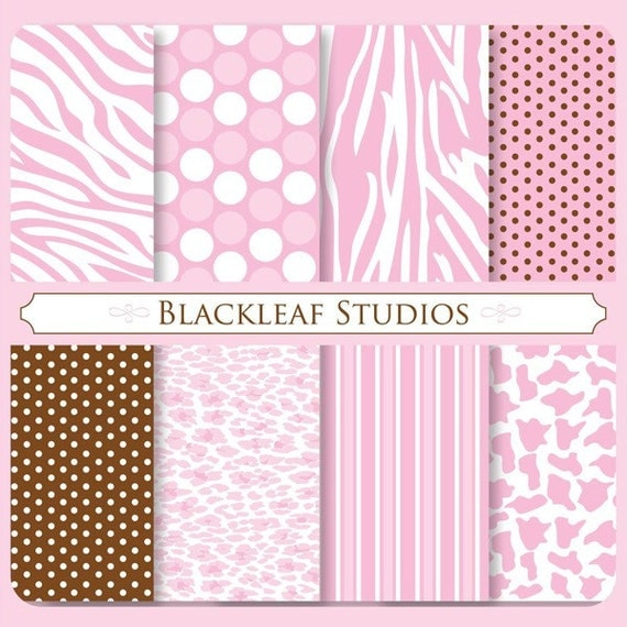 Animals Prints for Girls Digital Paper for Scrapbooking, Cards, Invites, Photographers, Crafts