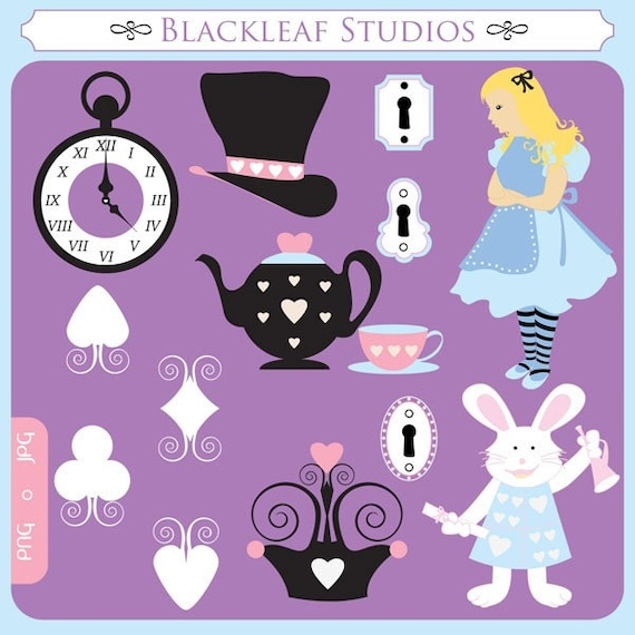 alice in wonderland clock clipart - photo #21