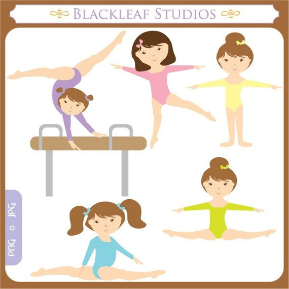 Little Gymnast Clip Art Instant Download - gymnastics, gym, tumble, party, girls, sports, fitness - Personal and Commercial Use Clipart