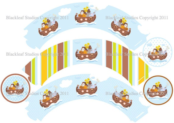 Noahs Ark Cupcake Wrappers & Toppers Set - party printables, diy party set, diy noahs ark cupcake set