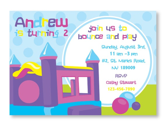 bounce house invitation diy printable 5x7 card for baby shower or birthday party by blackleaf. Black Bedroom Furniture Sets. Home Design Ideas