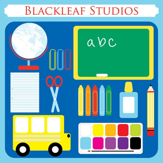 School Days - back to school party, pencil, chalkboard, ruled paper, glue, pallette, school bus, globe, scissor - Personal and Commercial