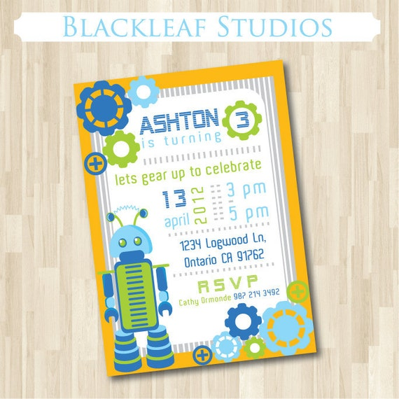 Robot Invitation DIY Printable for Birthday Party Celebration – Robot Party Invitations