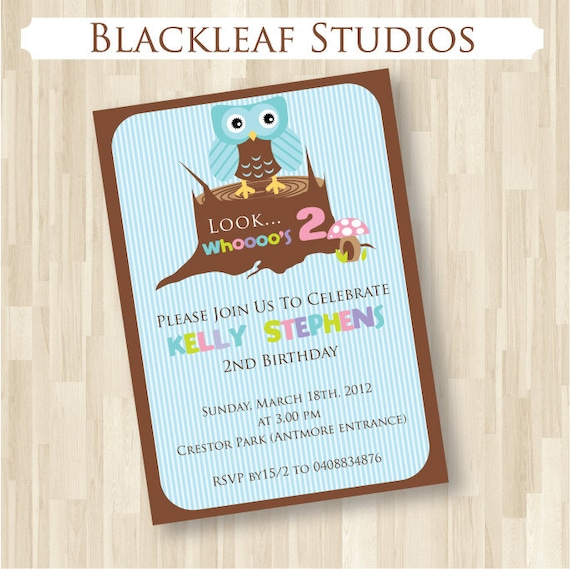 Cute Baby Owl Customised Invitation DIY Printable for Baby Shower or Birthday Party 5x7 Card